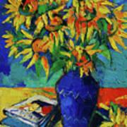 Sunflowers In Blue Vase Art Print
