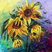 Sunflowers In The Rain Art Print