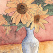 Sunflowers In Vase Sketch Art Print