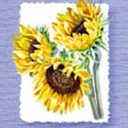 Sunflowers On Baby Blue Art Print