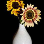 Sunflowers On Black Background And In White Vase Art Print