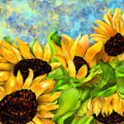 Sunflowers On Holiday Art Print