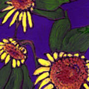 Sunflowers On Purple Art Print