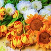 Sunflowers Tulips Art Print