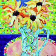 Sunflowers With Trellis Collage Art Print