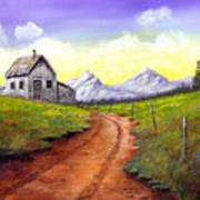 Sunlit Cabin Art Print