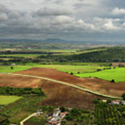 Sunlit Farms And Fields Below Arcos De La Frontera Andalusia Spa Art Print