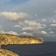Sunlit Limestone Cliffs In Malta Art Print
