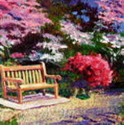Sunny Bench Plein Aire Art Print by David Lloyd Glover