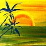 Sunny Blue Palms Art Print