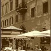 Sunny Italian Cafe - Sepia Art Print by Carol Groenen