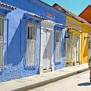 Sunny Street With Colored Houses - Cartagena-colombia Art Print