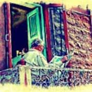 Sunny Sunday Morning Newspaper Vintage India Rajasthan Udaipur 2b Art Print