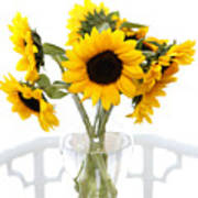 Sunny Vase Of Sunflowers Art Print