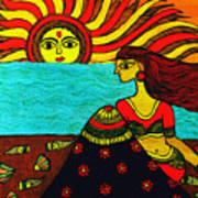 Sunrise At Beach Madhubani Painting Art Print