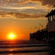 Sunrise At Daytona Beach Pier  004 Art Print