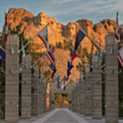 Sunrise At Mount Rushmore Promenade Art Print