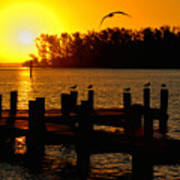 Sunrise At The Boat Launch  Art Print
