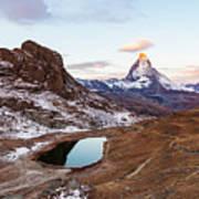 Sunrise At The Matterhorn Mountain Area Art Print