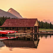 Sunrise Boat House Art Print