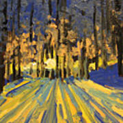 Sunrise Forest Modern Impressionist Landscape Painting  Art Print