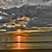 Sunrise-hdr-bw With A Touch Of Color Art Print