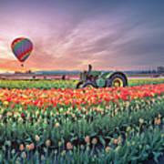 Sunrise, Hot Air Balloon And Moon Over The Tulip Field Art Print