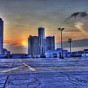 Sunrise In Detroit Mi Art Print by Nicholas  Grunas