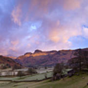 Sunrise In The Langdale Valley, Lake District, England. Art Print