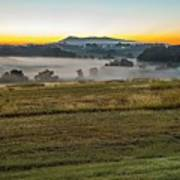 Sunrise Landscape Over Morganton Town In  North Carolina  Art Print
