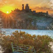 Sunrise Over Corfe Art Print