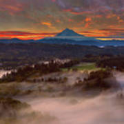 Sunrise Over Mount Hood And Sandy River Valley Art Print