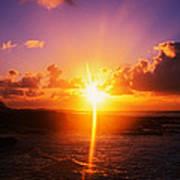 Sunrise Over Ocean, Sandy Beach Park Art Print