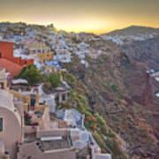 Sunrise Over Santorini, Greece 1 Art Print