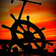Sunrise Over The Captain's Wheel 2 Art Print