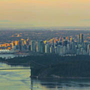 Sunrise Over Vancouver Bc And Stanley Park Panorama Art Print