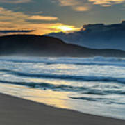 Sunrise Seascape With Headland And Clouds Art Print