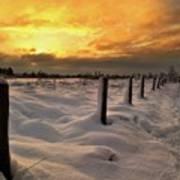 Sunrise Snow Fields Art Print