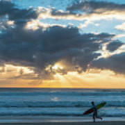 Sunrise Surfer Running Delray Beach Florida Art Print