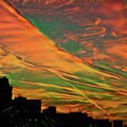 Sunset Above City After A Thunder-storm Art Print