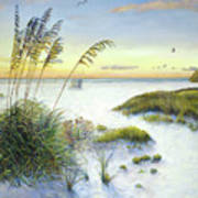 Sunset And Sea Oats At Siesta Key Public Beach Art Print