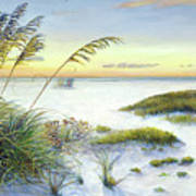 Sunset And Sea Oats At Siesta Key Public Beach -wide Art Print