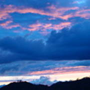 Sunset Art Print Blue Twilight Clouds Pink Glowing Light Over Mountains Art Print