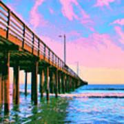 Sunset At Avila Beach Pier Art Print