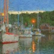 Sunset At Boothbay Harbor Maine Art Print