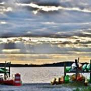 Sunset At Coastal Kayak Art Print