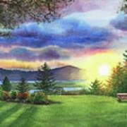Sunset At Columbia River State Of Washington Art Print