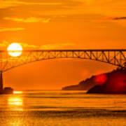 Sunset At Deception Pass Bridge Art Print