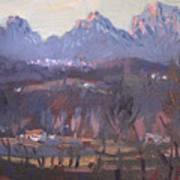 Sunset At Dolomites Belluno Art Print