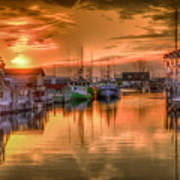 Sunset At Fisherman's Cove Art Print